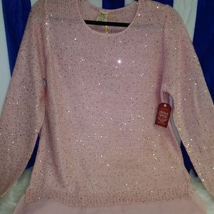 Faded Glory Sweaters - Faded Glory Pink Sparkle Sweater Sz L
